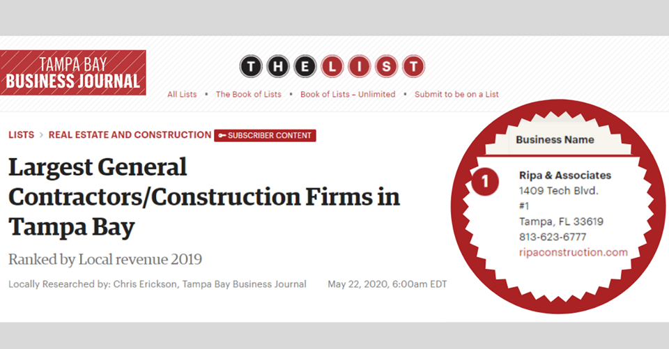 TBBJ Recognizes RIPA & Associates as the #1 Contractor in Tampa Bay