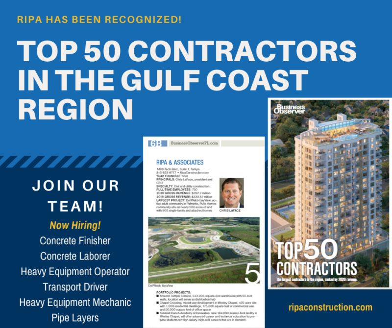 RIPA & Associates has been ranked as the #5 Top Contractor in the Gulf Coast region by the Business Observer! RIPA takes pride in being an industry leader and owes is success to its dedicated team!